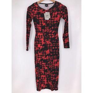 Asos Houndstooth Sheath Midi Dress 2 NWT